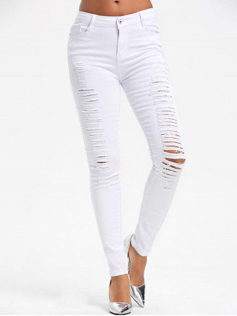 Hohe Taille Riss Skinny Hosen - Weiß S Mobile