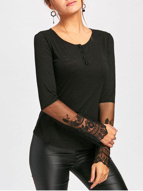 T-shirt à encolure en dentelle - Noir L Mobile