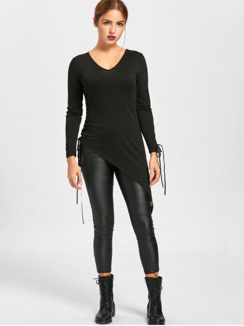 Halloween Sheer Lace Up Asymmetric Top - Negro XL Mobile