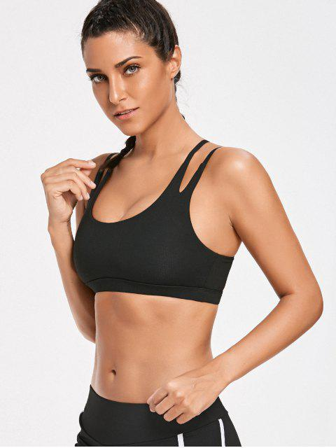 ladies High Impact Strappy Back Sporty Bra - BLACK L Mobile