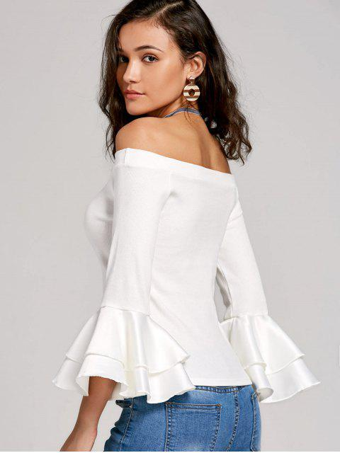 best Flare Sleeve Panel Knit Top - WHITE L Mobile