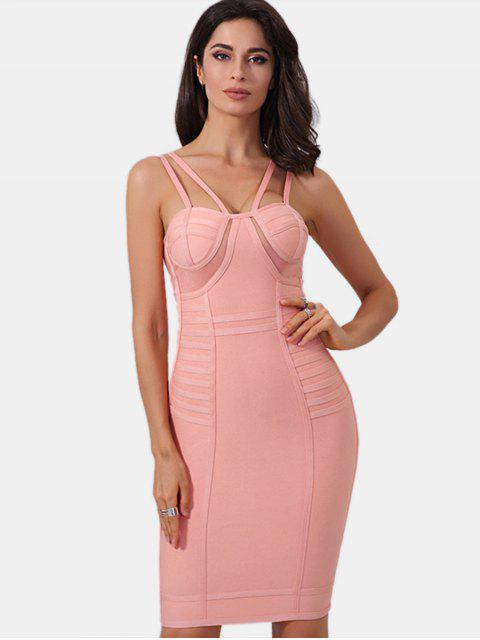 women Mesh Panel Cami Bandage Dress - PINK S Mobile