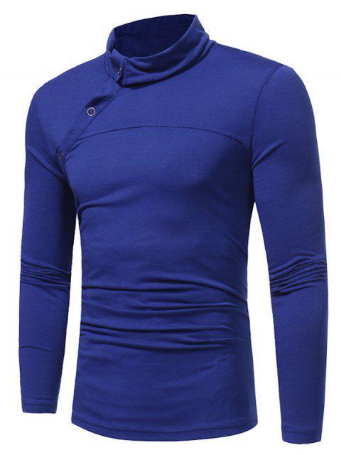 shop Turtle Neck Oblique Buttons T-shirt - ROYAL M Mobile