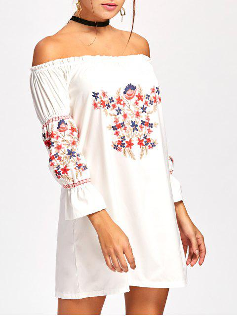 affordable Off Shoulder Ruffle Flare Sleeve Dress - WHITE S Mobile