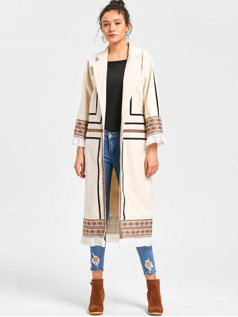Tribal Print Longline Fringe Coat - Blancuzco 2XL Mobile
