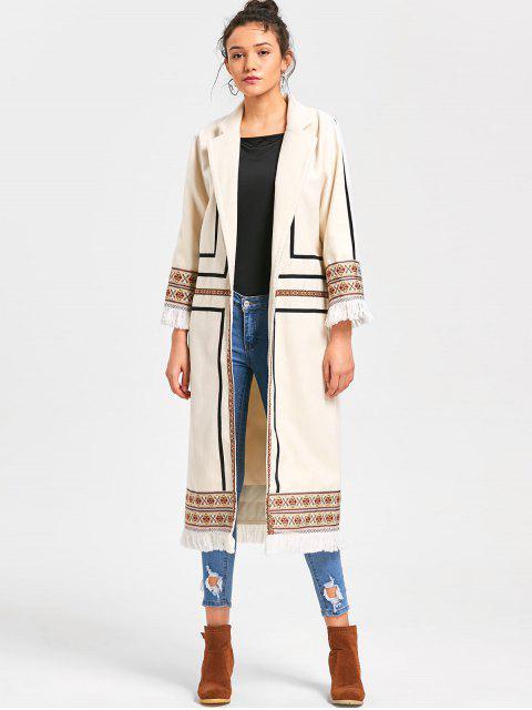Manteau Long Imprimé Tribal à Franges - Blanc Cassé 2XL Mobile