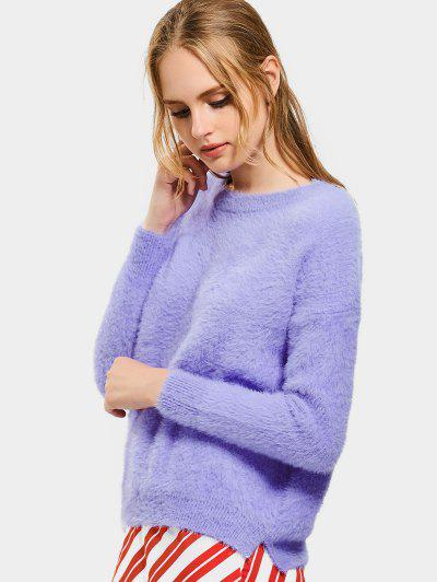Floral Patched Slit Mohair Sweater - Light Purple