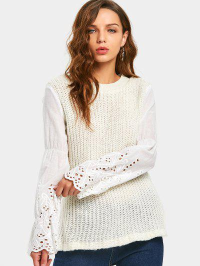 Hollow Out Patchwork Sweater - Off-white S