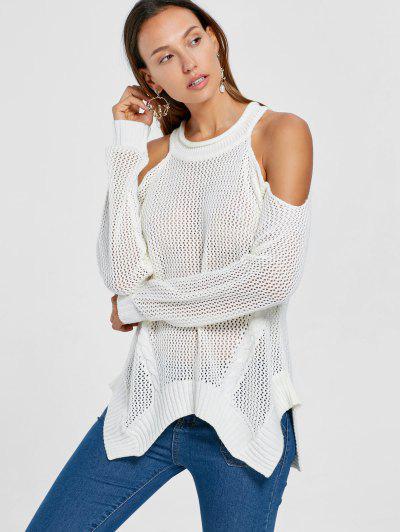 7e1a63741f8ba3 Cold Shoulder Open Knit Tunic Sweater - White L