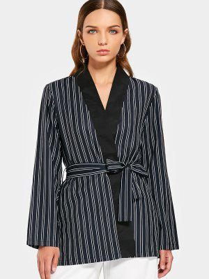 Long Sleeve Belted Stripes Blazer - Stripe L