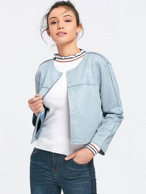 Button Up Faux Suede Jacket - Gray S