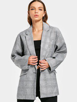 Long Sleeve Buttoned Checked Blazer