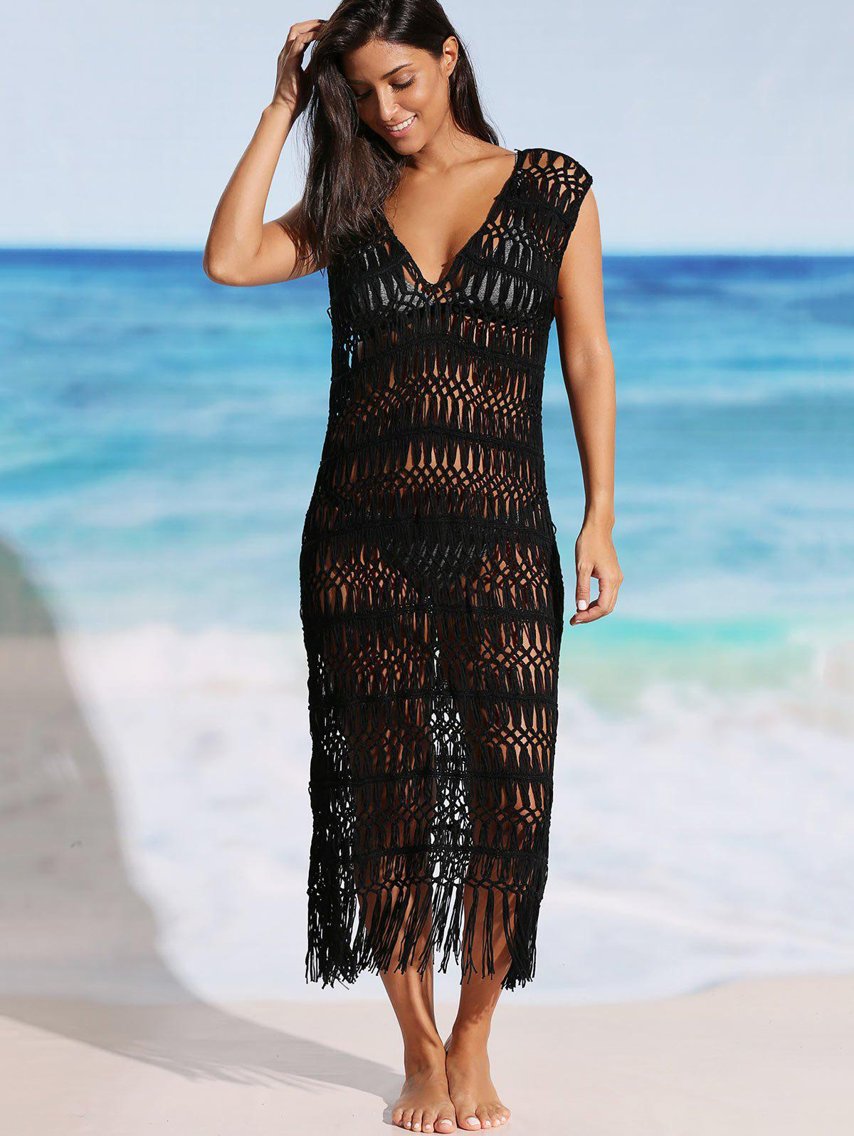 Fringe Crochet Cover-up Dress