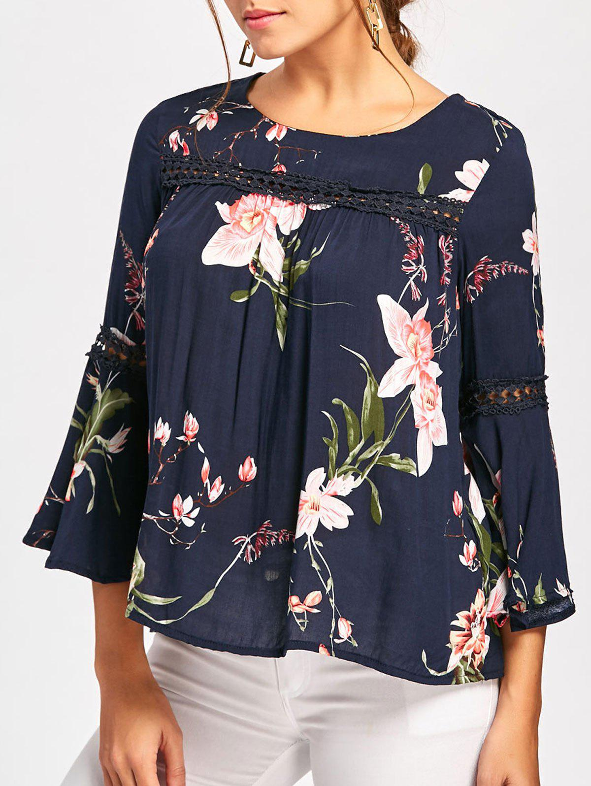 Bell Sleeve Lace Insert Blumendruck Bluse
