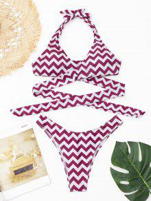 Zigzag Conjunto De Bikini Abrigo - Rojo Purpúreo L