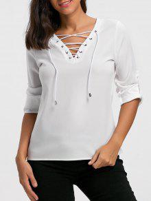V-Ausschnitt Lace Up Langarm Bluse - Weiß M