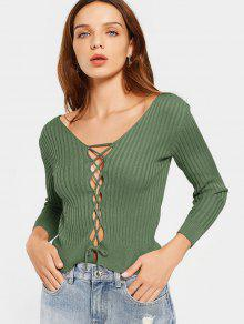 Ribbed V Neck Encaje Hasta Punto - Verde