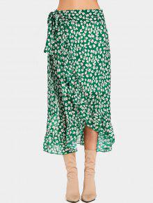 تنورة صغيرة الأزهار الكشكشة التفاف ميدي - أخضر M
