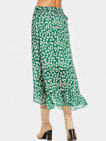1ed55a1e8c 31% OFF] 2019 Tiny Floral Ruffles Wrap Midi Skirt In GREEN   ZAFUL