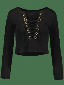 Camiseta Negro La Ata De M El Que Arriba La Hunde Cosecha Cuello Para xwq6xgP0Ha