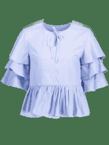 Blusa De Con L Claro Pico Azul Cuello rfErUwqSpn