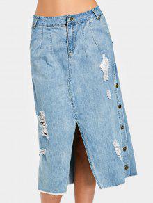 Saia De Denim Destruída Por Fenda Com Botão Lateral - Jeans Azul L
