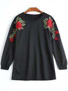Camiseta Floral Del Applique Del Palangre - Negro L