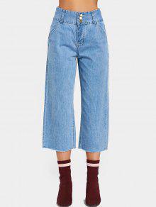 Tres Abotonados Alto Waisted Pierna Pantalones Anchos - Denim Blue S
