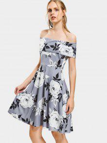 فستان طباعة الأزهار بلا اكتاف توهج - رمادي M