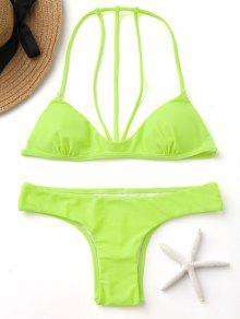 Conjunto De Bikini Straapy De Color De Fluorescencia - Amarillo Fluorescente M