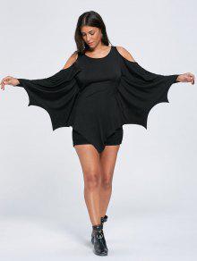 Parte Superior Del Batwing Del Hombro Frío De Halloween - Negro Xl