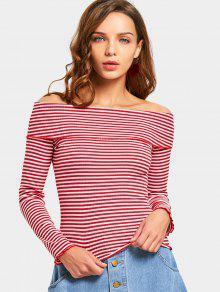 Off The Shoulder Striped - Parte Superior De Punto - Rojo