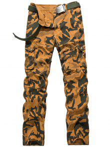 Zipper Fly Camuflaje Swallow Gird Pantalones De Carga - Terroso 36