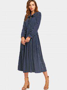 فستان البولكا نقطة ربطة فراشية الرقبة - نقطة نمط S
