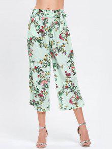 Pantalons Floraux à Larges Jambes De Bowknot Ruffles - Floral M