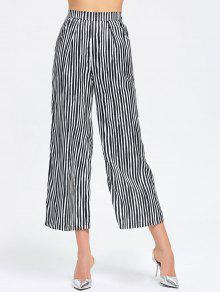Pantalones De Pierna Anchos Rayados De Alta Cintura - Raya M
