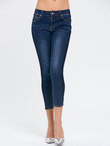Skinny Ninth Blanqueador Wash Lápiz Jeans - Denim Blue L
