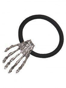 الهيكل العظمي اليد هالوين مطاطا الفرقة الشعر - فضة