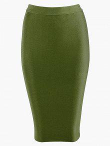 Falda Bodycon De Alta Cintura - Verde Del Ejército S