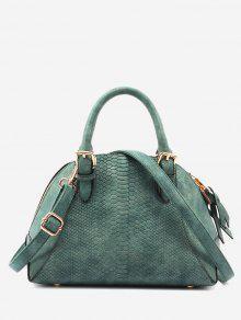 حقيبة توتي بنمط جلد التمساح مزينة بأبازيم مع حزام - أخضر