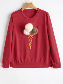 T-shirt à La Glace Embellished Ball Fuzzy - Rouge S
