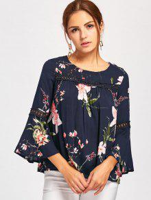 b35bd63ecdd7f 26% OFF  2019 Bell Sleeve Lace Insert Floral Print Blouse In BLUE ...