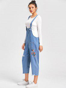 a253705ea7f 45% OFF  2019 Embroidery Frayed Jean Drop Crotch Jumpsuit In CLOUDY ...
