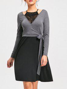 Vestido Ajustable En Ganchillo - Negro Y Gris 2xl
