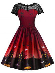 Robe Halloween à Empiècement En Dentelle Vintage - Rouge Foncé S