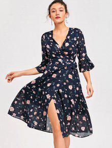 فستان لف توهج الأكمام طباعة الأزهار - L