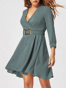 Vestido Ajustado Y Flare Con Cinturón - Verde Salvia M