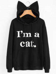 جبهة الجيب إلكتروني الرسم القط هوديي - أسود 2xl