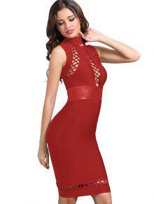 فستان الضمادة عالية الرقبة - أحمر S