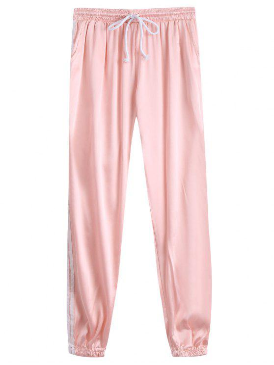 shop Drawstring Shiny Sporty Jogger Pants - LIGHT APRICOT PINK M